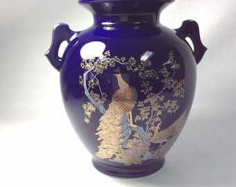 Porcelain vase, cobalt blue with peacocks and flowers, gold trim, two handles, made in Japan