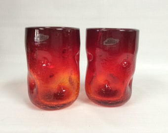 Blenko Glass 2 hand blown tangerine crackle 418S pinched tumblers