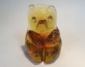Blenko Glass amber bear paperweight