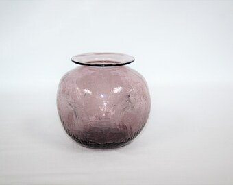 Pilgrim Glass Purple Crackle Pinched Vase