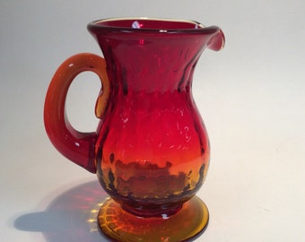 Blenko Glass 6910 dot optic tangerine pitcher Joel  Myers