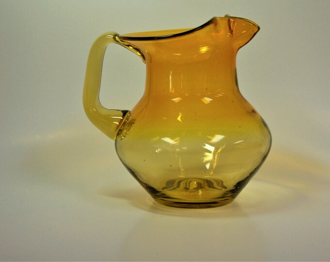 Featured listing image: Blenko Glass hand blown pitcher #668S in lemon yellow, Joel Myers