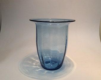 Blenko Glass vintage #3748S vase in very seedy sky blue, 1930s, predesigner.