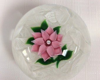 St. Kilda paperweight, pink flower, white laticcino background , made in Scotland