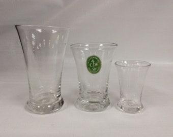 Three Williamsburg glasses. CW5S, CW5M, CW5W. Made by Blenko Glass.
