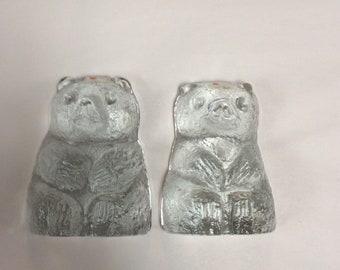 Pair Blenko Glass bear bookends 836S