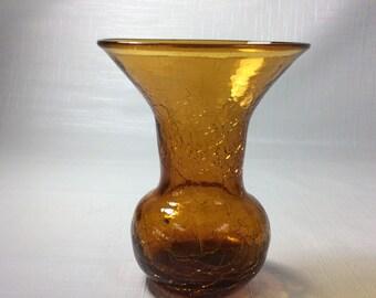Blenko Glass mini vase #CM8 in gold, 1955-56 hand blown