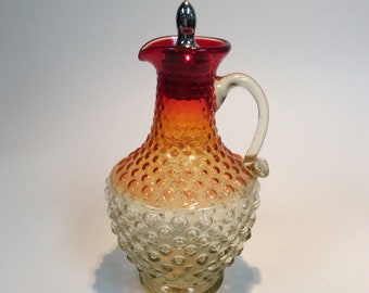Kanawha Glass amberina hobnail cruet