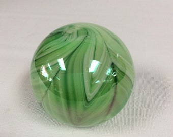 Gibson Glass hand made slag glass paperweight, green and white, iridescent , feather pattern.