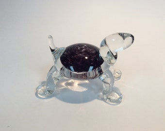 Gibson Glass hand made glass turtle paperweight amethyst and white