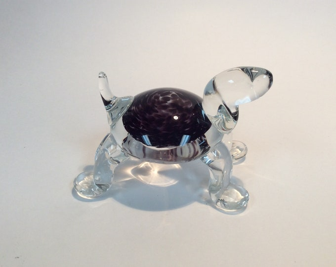 Featured listing image: Gibson Glass hand made glass turtle paperweight amethyst and white