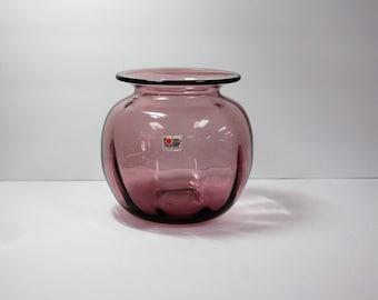 Blenko Glass 8725S vase in Orchid. Don Shepherd design