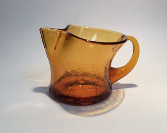Blenko Glass hand blown pitcher #667S in wheat amber crackle , Joel Myers design.