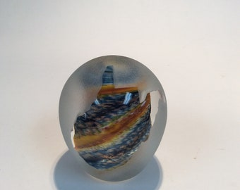 Signed hand blown glass blue and gold paperweight, sand carved, West Virginia, John DesMeules