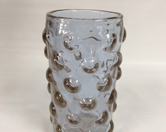 """Bischoff Glass hand blown vase #951 """"bubble wrap"""" wisteria neodymium color changing glass"""
