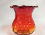 Blenko Glass hand blown vase dot optic ruffled top 707 in tangerine