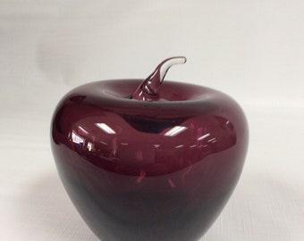 Blenko Glass amethyst apple with crystal stem.