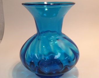 Blenko Glass hand blown vase 706 optic in turquoise blue.