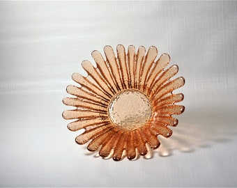 Blenko Glass 847S Peach Sunflower Bowl 2003  Don Shepherd design