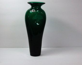 Blenko Glass 9544S pinched vase in emerald green