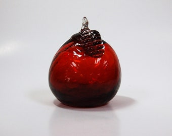 Kanawha Glass apple, ruby red crackle with crystal stem and leaf