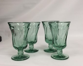 Set of four Fostoria Jamestown green juice glasses,