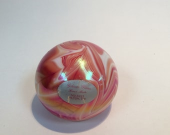 Gibson Glass hand made slag glass paperweight, red, orange and white, iridescent , feather pattern, with sticker.