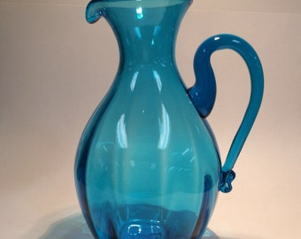 Blenko Glass 645 hand blown pitcher turquoise blue, Joel Myers 1964 design.