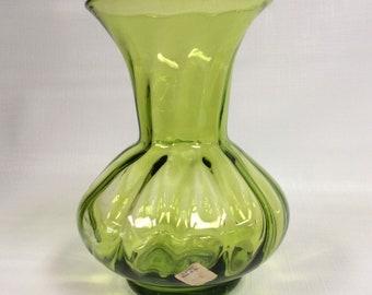 Blenko Glass hand blown vase 706 optic in olive green