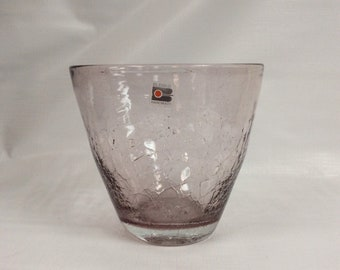 Blenko Glass hand blown bowl 915 orchid crackle, Hank Adams design
