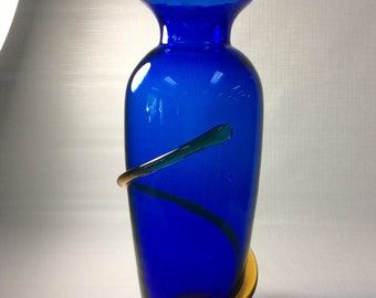 Blenko Glass hand blown vase # 9907L, cobalt with topaz snake, signed by Richard Blenko