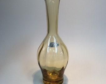 Blenko Glass vintage bottle vase 64D in wheat amber, Joel Myers, hand blown