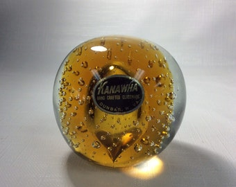 Kanawha Glass controlled air bubble paperweight with amber center