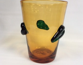 Blenko Glass 9519S leaf beaker vase, topaz with emerald leaves.