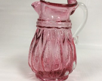 Kanawha Glass small pitcher 308C in cranberry with crystal handle