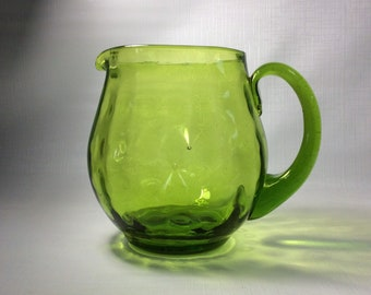 Blenko Glass 6916 hand blown dot optic pitcher with pinched in sides, olive green, Joel  Myers