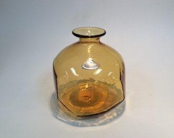 Blenko Glass Facet vase 8018 in wheat Amber Don Shepherd design