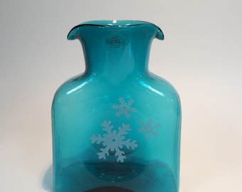 Blenko Glass mini water bottle 384M, with snowflakes, dated 2013, sea breeze blue hand blown