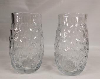 Blenko Glass 2 hand blown crystal pineapple tumblers