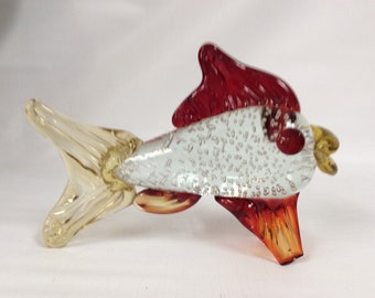 Hand made glass fish. Crystal body with controlled air bubbles, yellow and red fins