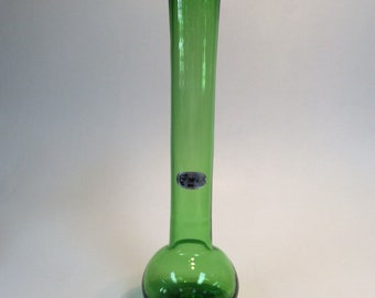 Bischoff Glass hand blown vase 703, green. With sticker