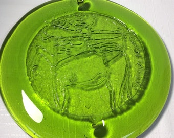 "Blenko Glass 8-3/4"" hanging suncatcher 65SG Sagittarius, olive green."