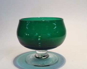 Blenko Glass hand blown sherbet 926S, emerald green with crystal stem and foot. Anderson design.