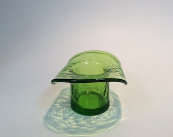Kanawha Glass green crackle mini hat.
