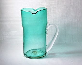 Blenko Glass Antique Green #9521 Double Spout Pitcher Crystal Handle Blown Glass