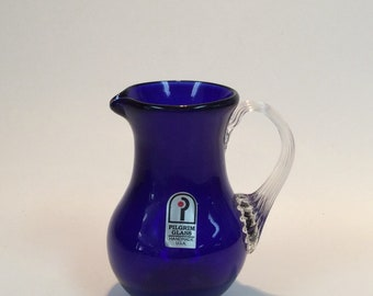 Pilgrim cobalt blue mini pitcher with clear reeded handle