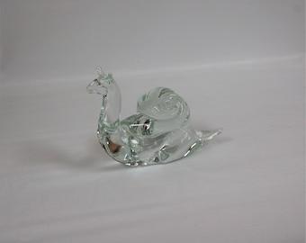 Pilgrim Glass Signed Roberto Moretti Crystal Snail Figure