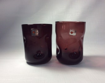 Pair of Blenko Glass hand blown 418S pinched tumblers, plum