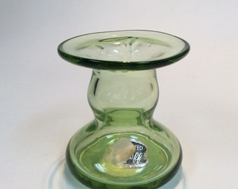 Bischoff Glass hand blown green candle holder #928 with partial sticker