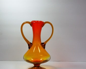 Italian hand blown amberina two handle vase with foot